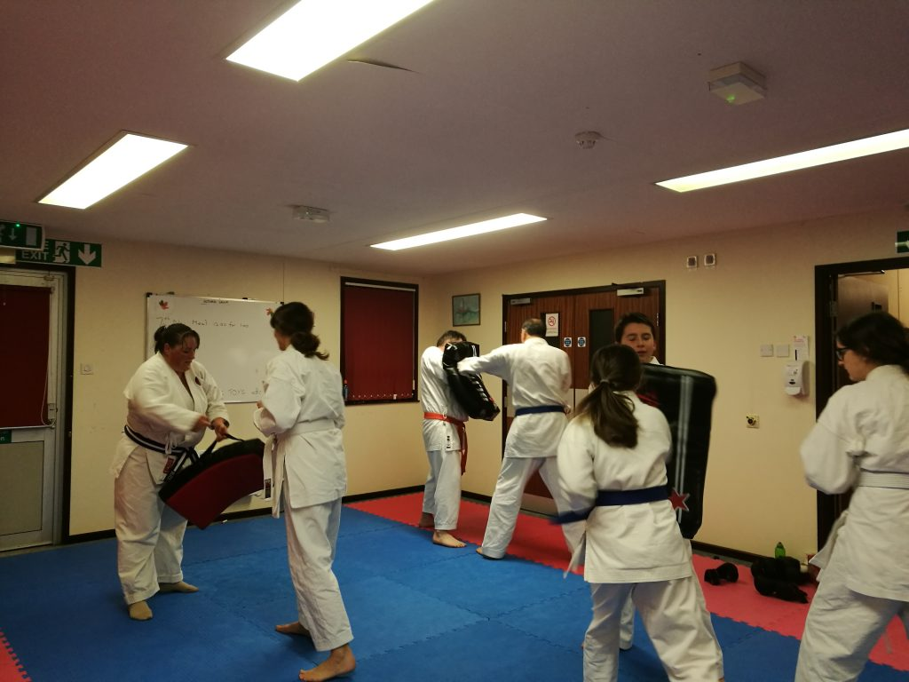 Our students use strike shields to build confidence and strength in their techniques