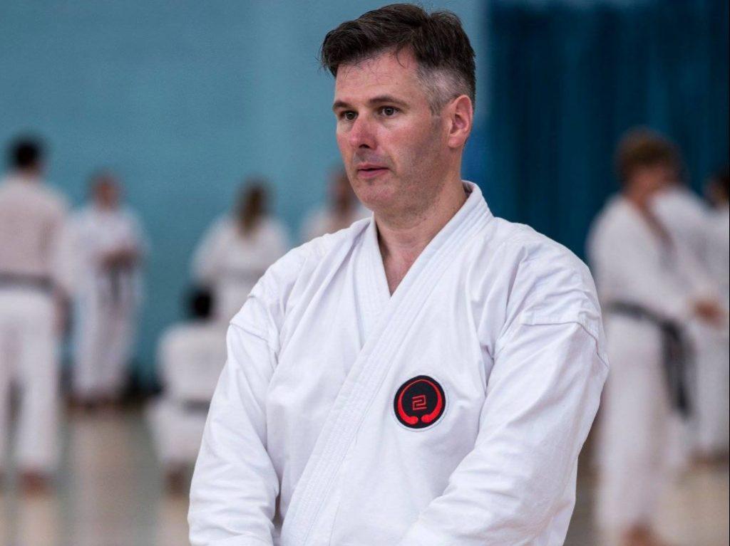 Student preparing for kata practice